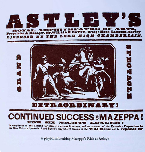 Playbill advertising Mazeppa's ride at Astley's