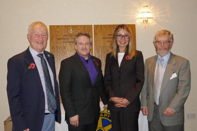 Carol Gandey with Andrew Van Buren and members of Rotary Club